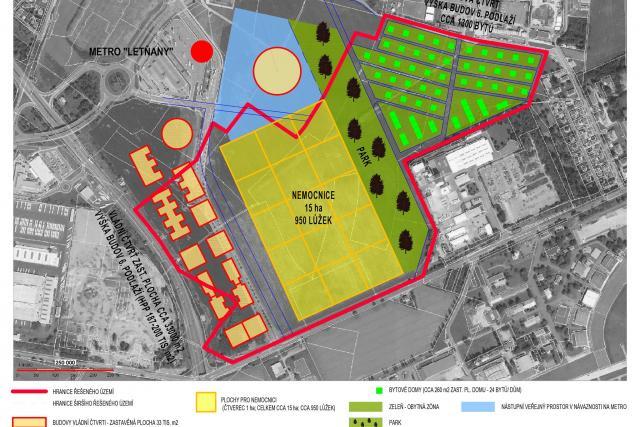 Území, kde by měla být vybudovaná nová čtvrť v Letňanech.