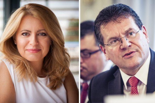 Kandidáti na prezidenta Slovenska Zuzana Čaputová a Maroš Šefčovič