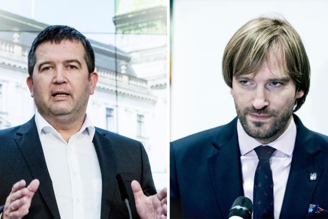 Nejvyšší důvěře se podle Centra pro výzkum veřejného mínění v červnu těšili ministr vnitra Jan Hamáček (vlevo) a ministr zdravotnictví Adam Vojtěch