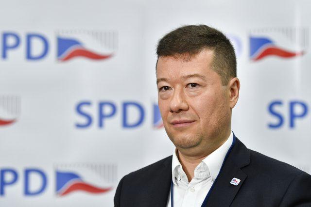 Předseda hnutí Svoboda a přímá demokracie (SPD) Tomio Okamura na tiskové konferenci po celostátní konferenci hnutí.