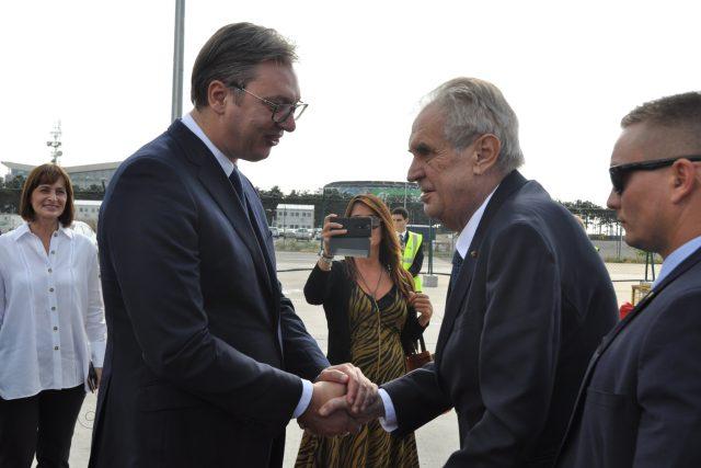 Miloš Zeman na návštěvě Srbska s tamním prezidentem Aleksandarem Vučićem