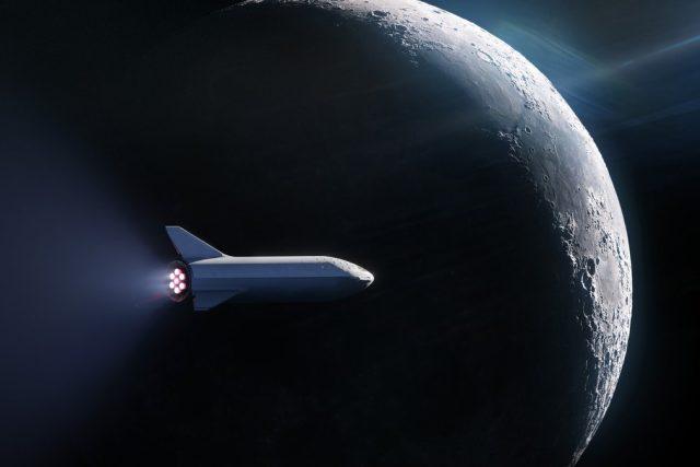 Vizualizace rakety společnosti SpaceX u Měsíce