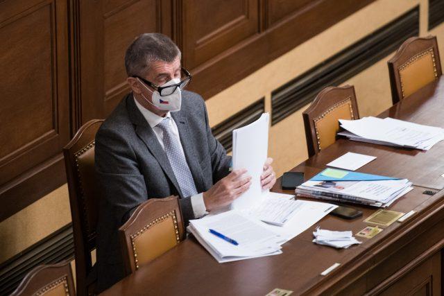 Andrej Babiš při jednání v Poslanecké sněmovně.