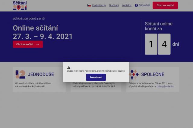 Online sčítání postihl výpadek | foto: Repro iROZHLAS