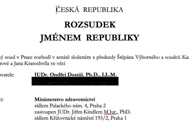 Pražský městský soud ve čtvrtek zrušil čtyři opatření ministerstva zdravotnictví