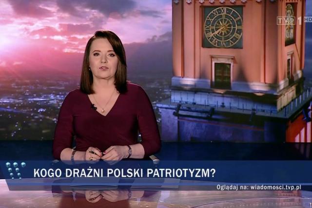 Moderátorka Zpráv Polské televize Danuta Holecká a titulek Koho dráždí polský patriotismus?