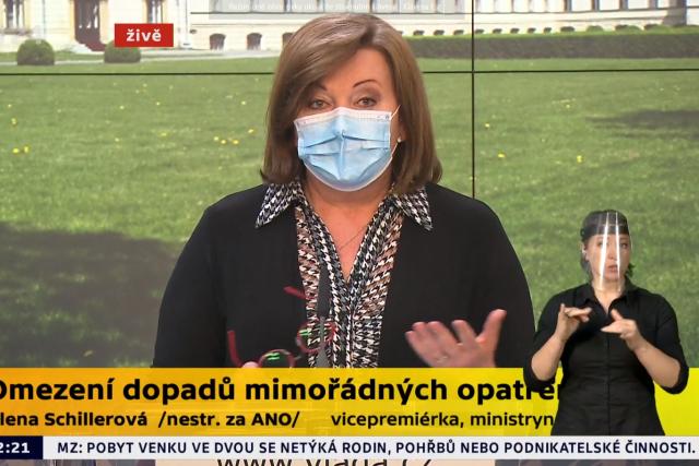 Ministryně financí Alena Schillerová (za ANO) po jednání vlády 26. března 2020