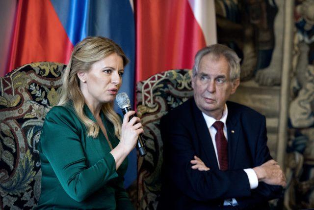 Slovenská prezidentka Zuzana Čaputová se na Hradě setkala s Milošem Zemanem