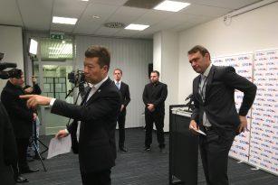 Předseda SPD Tomio Okamura a podpředseda Radim Fiala