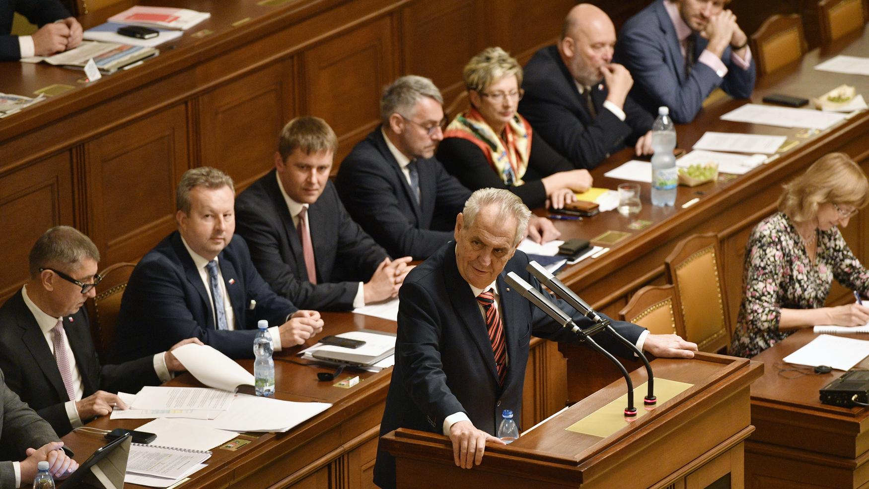 Prezident Miloš Zeman při projevu před poslanci ve sněmovně 24. října 2018