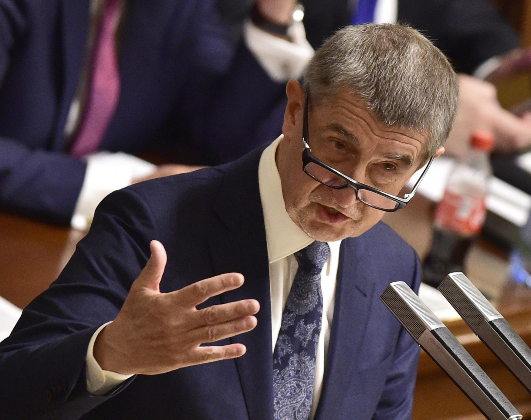 Premiér Andrej Babiš při projevu před poslanci