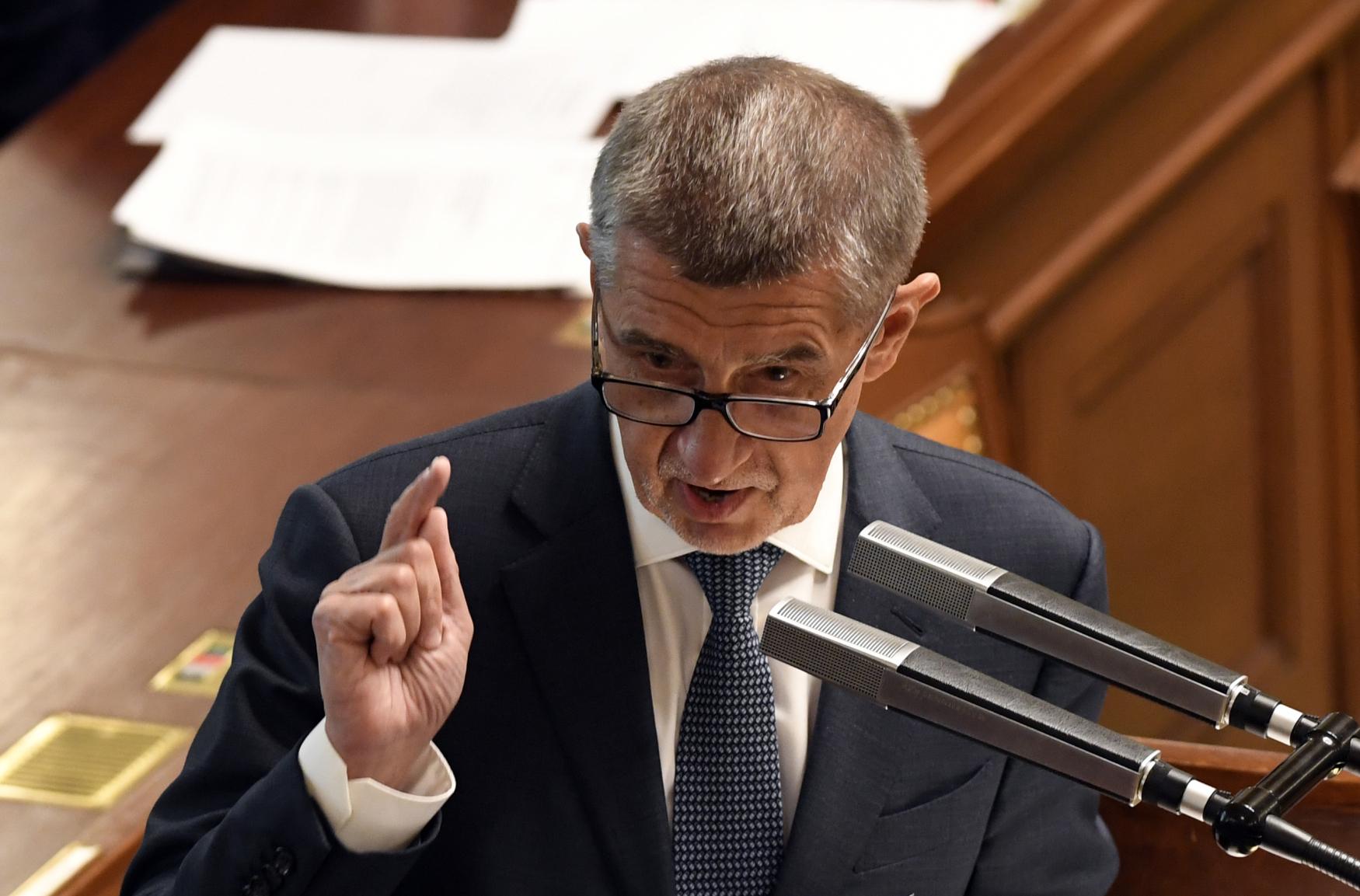 Premiér Andrej Babiš reaguje na schůzi sněmovny na informace o výsledku auditu Evropské komise ohledně jeho možného střetu zájmů dotací pro Agrofert.