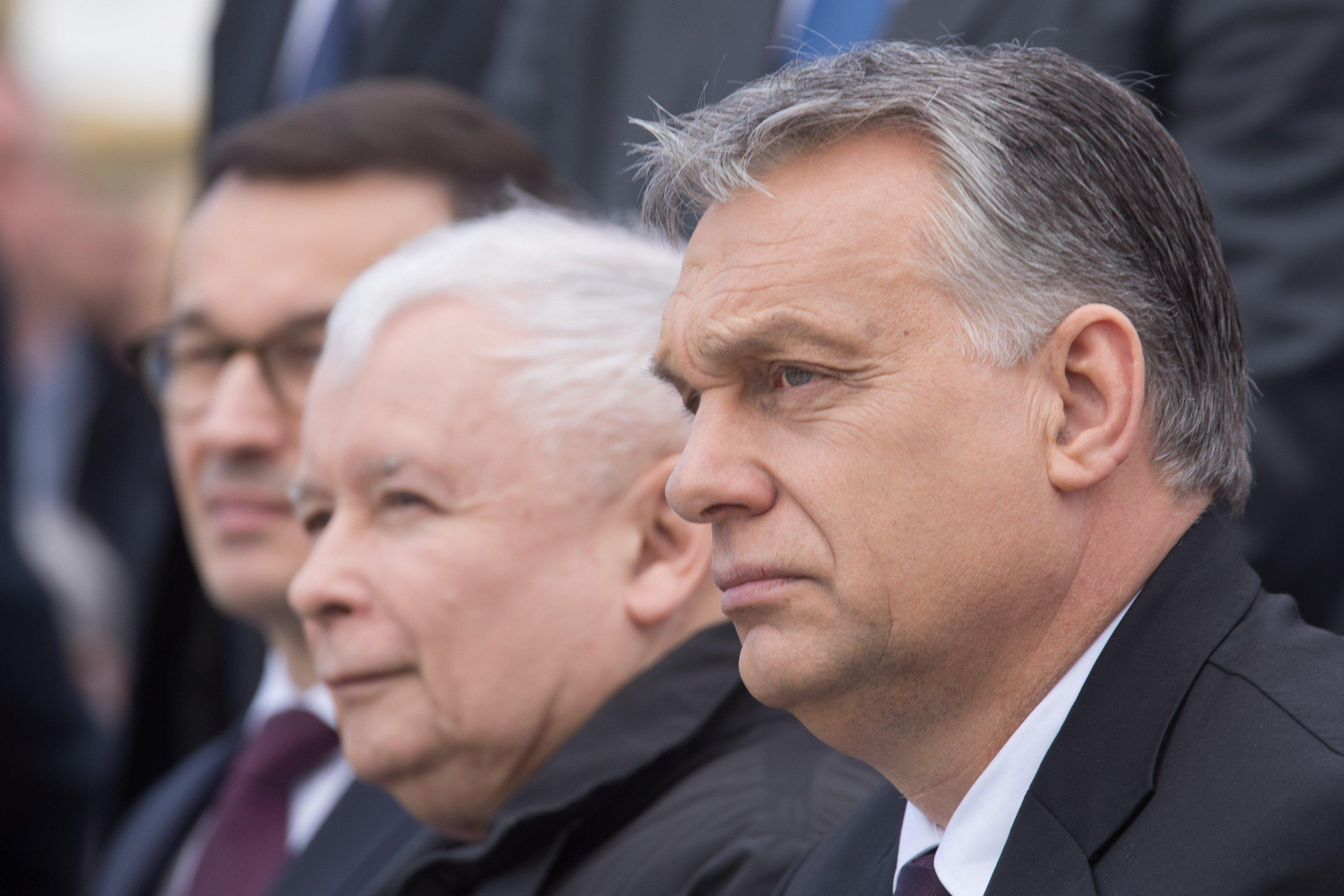 Předseda polské vládnoucí strany Jarosław Kaczyński a maďarský premiér Viktor Orbán