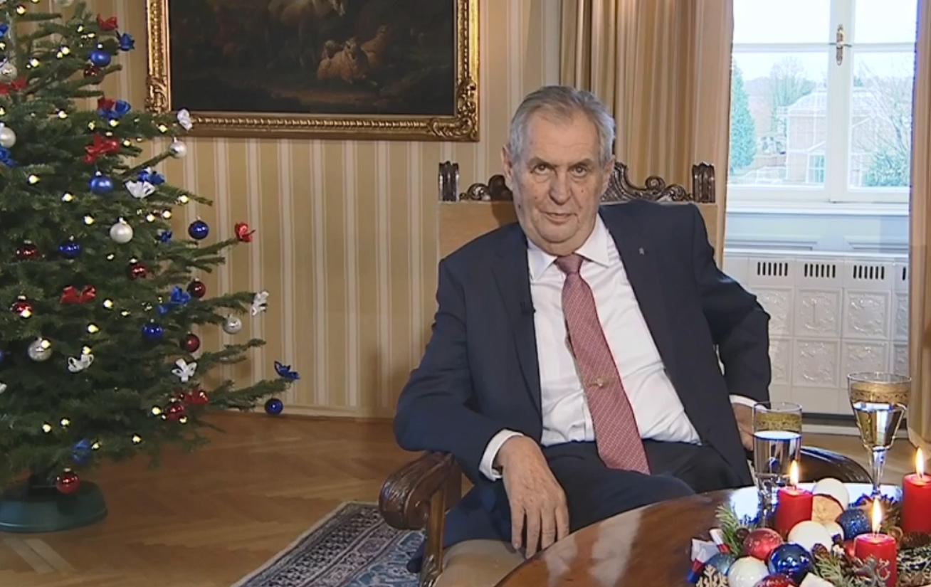 Miloš Zeman během vánočního poselství.